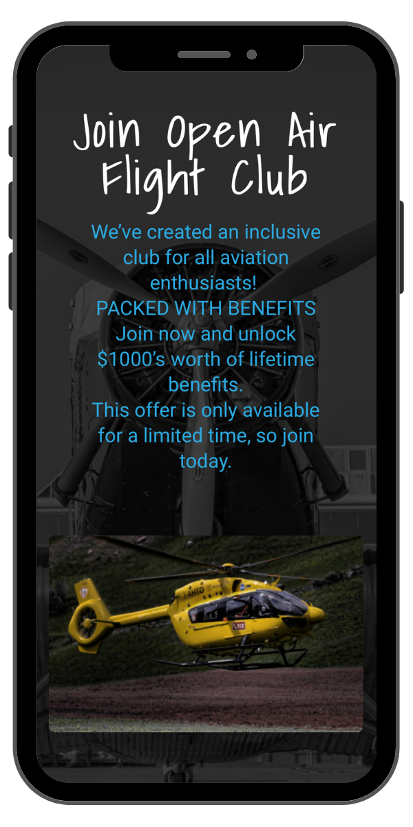 An image of the open air flight club webpage loaded on a smart phone