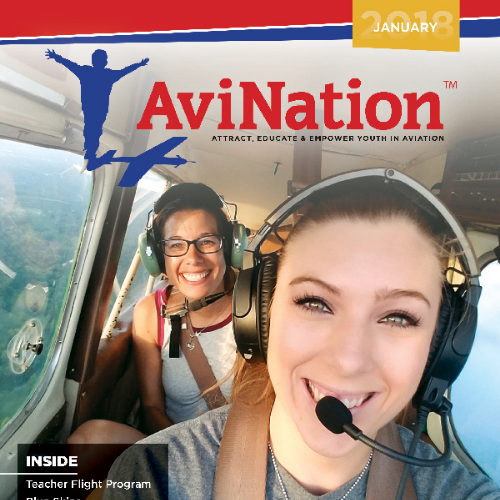 Cover of AviNation an aviation magazine for youth. The image on the front shows 2 adolescent females piloting a small plane